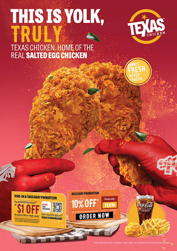 Texas Chicken. Home of the Real Salted Egg Chicken