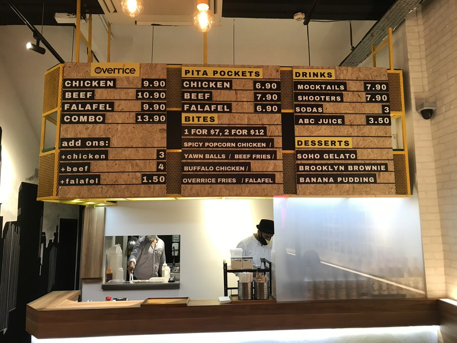 The menu board at Overrice
