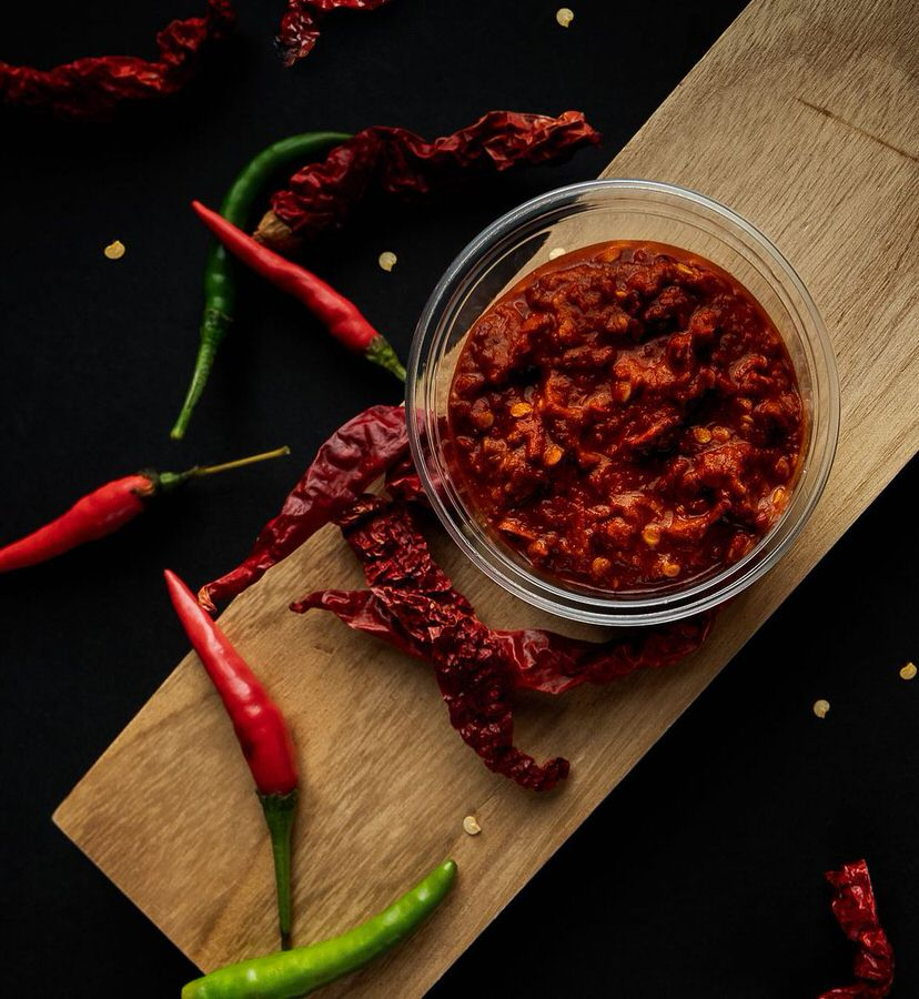 The fiery red sauce at Overrice