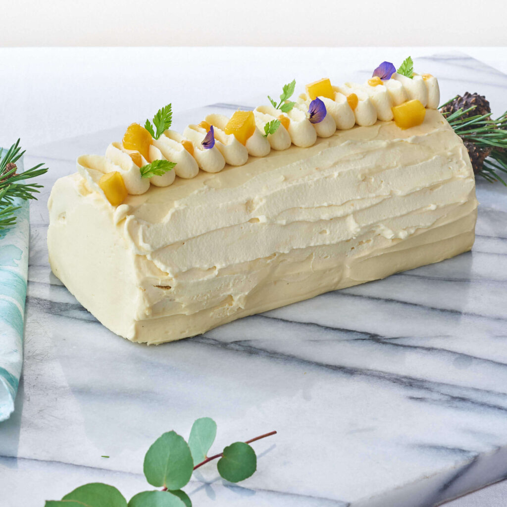 Mango Passion Fruit Log Cake